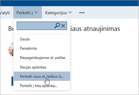 Ekrano kopija, kurioje matyti parinktis Perkelti visus el. laiškus iš