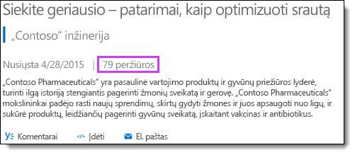 """""""Office 365"""" vaizdo įrašų statistikos rodiniai"""