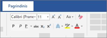 """Teksto formatavimo parinktys """"Word"""" juostelėje"""