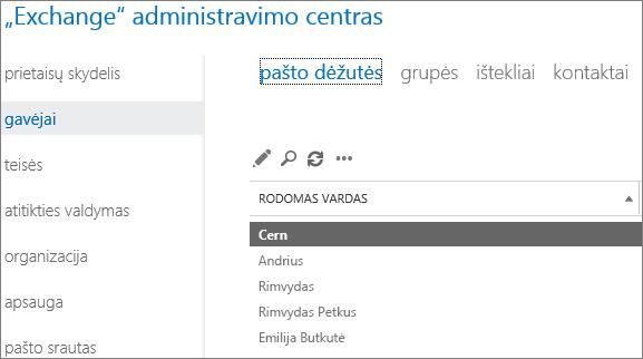 """Pašto dėžučių radimas """"Exchange"""" administravimo centre, norint sutvarkyti DSN 5.7.134"""