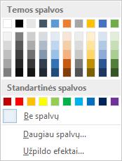 Juostelėje esančios puslapio spalvų parinktys