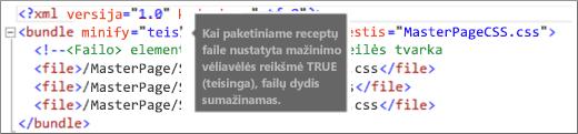 Lauko Mažinti vėliavėlę, nustatyto kaip TRUE (teisinga), ekrano kopija
