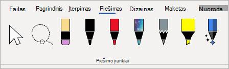 Microsoft 365 Piešimo įrankių rašikliai