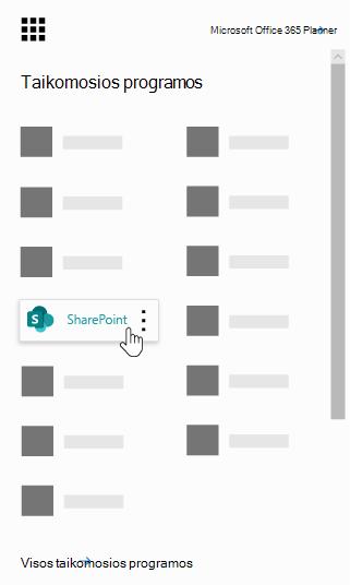 """""""Office 365"""" taikomųjų programų vykdyklę su paryškintu """"SharePoint"""" programėle"""