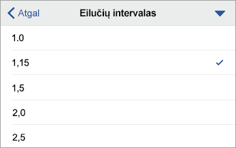 Eilučių intervalo komanda, rodomos formatavimo parinktys, pasirinkta 1,15