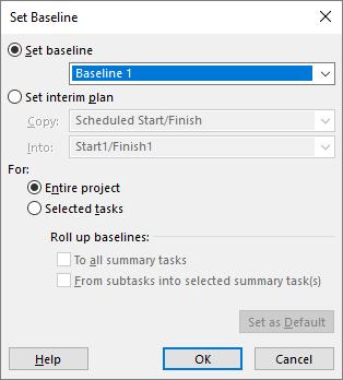 Dialogo lango Bazinės linijos nustatymas ekrano nuotrauka