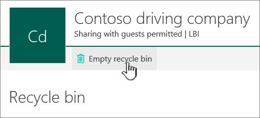 SharePoint Online tuščią šiukšlių dėžės mygtukas