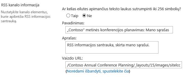 RSS kanalo informacija