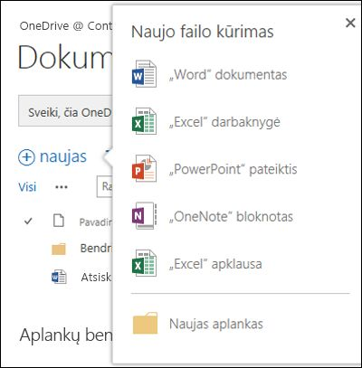 """""""Office Online"""" parinktys, kurias galite naudoti iš mygtuko Naujas programoje """"OneDrive"""" verslui"""