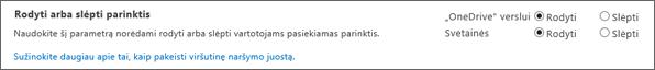 Rodyti/slėpti parinktys sekcijoje SPO SharePoint parametrai