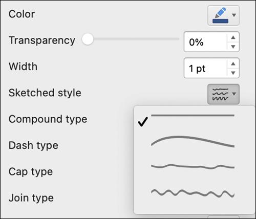 """""""Mac"""" linijos formato parinktys su pažymėtu eskizų stiliumi"""