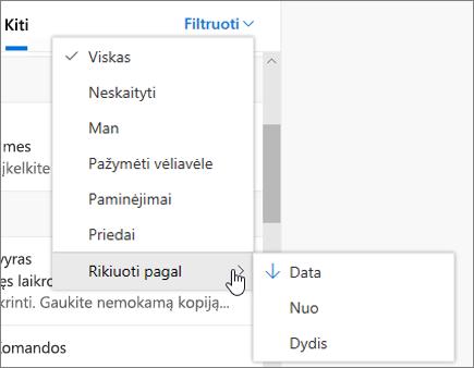 """El. pašto filtravimas internetinėje """"Outlook"""""""