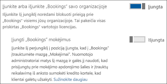 Ekrano iškarpos: užsakymų administravimo vaizduojamas iš puslapio paslaugos ir priedai