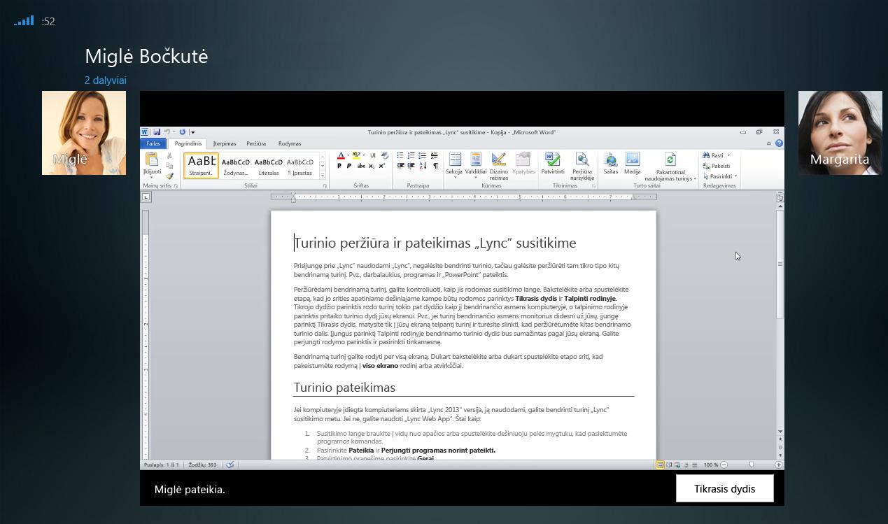 Programos bendrinimo seanso su rodoma tikrojo dydžio parinktimi ekrano kopija