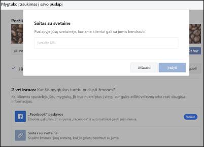 Ekrano: Įklijuokite savo užsakymo puslapio URL