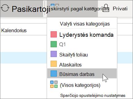 """Kategorijos įtraukimas į kalendorių programoje """"Outlook"""""""
