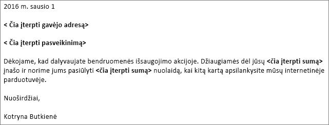 """Pavyzdys, laiškas bel naudoti laiškų suliejimą programoje """"Word""""."""