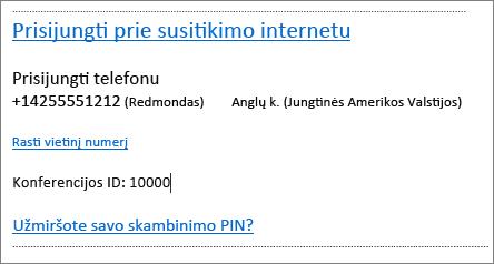 """""""Outlook Web App"""", prisijungimo prie susitikimo internetu informacija susitikimo užklausoje"""