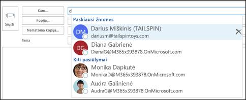 Automatinio užbaigimo sąraše rodomi adresų pasiūlymai.