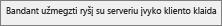 Bandant užmegzti ryšį su serveriu kliente įvyko klaida