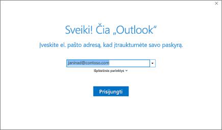 """Sveikiname pradėjus naudoti """"Outlook"""""""