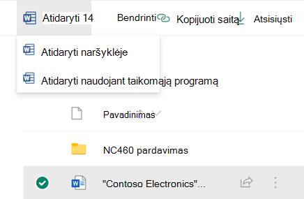 """Galite atidaryti failą savo naršyklėje arba kompiuterio """"Office"""" taikomojoje programoje."""