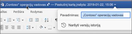 Spustelėjus dokumento pavadinimą galima pervardyti failą arba matyti versijų retrospektyvą