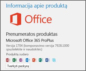 Versija ir komponavimo versijos numeris dalyje Produkto informacija