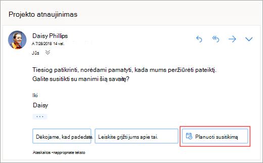 Ekrano nuotrauka siūlomų atsakyti į susitikimo planavimas