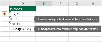 Langeliai su skaičiais saugomi kaip tekstas su žaliais trikampiais