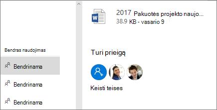 Rodoma, kas turi prieigą prie bendrinamų failų