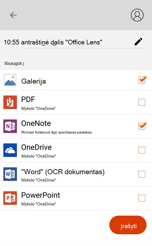"""""""Office Lens"""", skirtos """"Android"""", eksportavimo parinktys"""