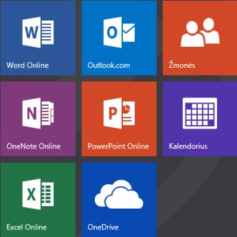 Office.com pradžios ekranas