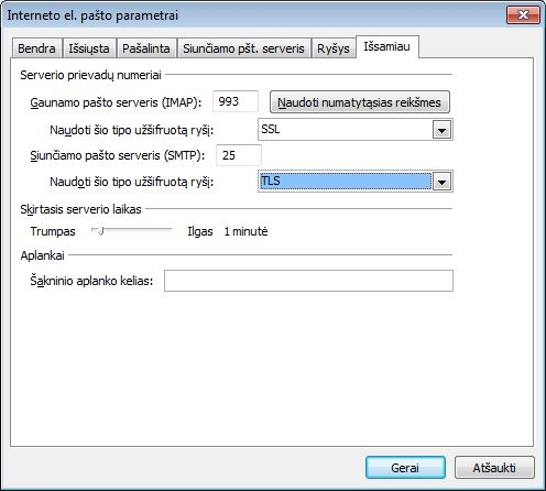 """Outlook 2010"" SSL ir TLS parametrai"