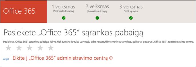"""Baigta! Eikite į """"Office 365"""" administravimo centrą."""