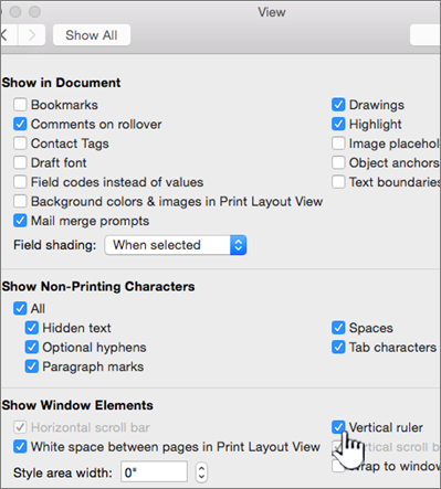 Vertical ruler is highlighted in the View dialog box.