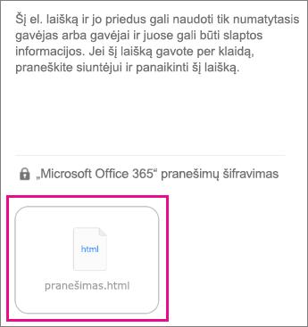 """OME peržiūros programa, skirta """"iOS"""" pašto programėlę 1"""