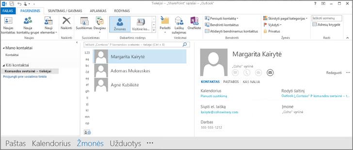 """Komandos svetainės kontaktų, rodomų programoje """"Outlook"""", ekrano nuotrauka."""