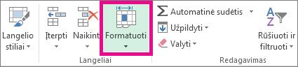 Skirtuke Pagrindinis spustelėkite Formatas
