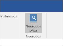"""Ekrano nuotraukoje pavaizduota """"Office"""" juostelės dalis su papildinyje Citatos paryškinta komanda ieškoti citatų."""