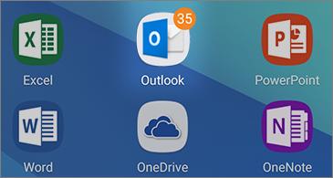 """Šešios programų piktogramos, įskaitant """"Outlook"""" piktogramą su neskaitytų laiškų skaičiumi viršutiniame dešiniajame kampe"""