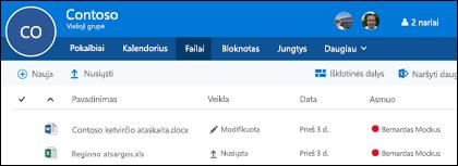 """Spustelėkite failus į savo """"Office 365"""" grupę, kad pamatytumėte failus ir aplankus, saugomus jūsų grupei sąrašas"""