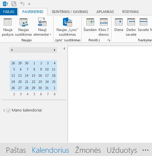 Kalendoriaus saitas yra ekrano apačioje.