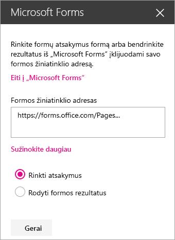 """""""Microsoft Forms"""" puslapio dalies sritis, skirta esamai formai."""