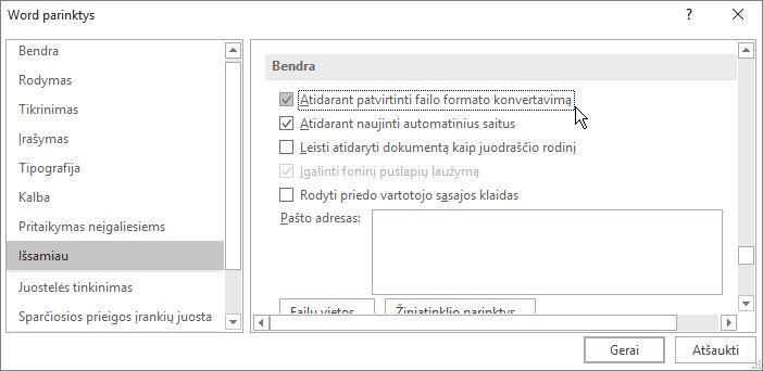 Parinktis Atidarant patvirtinti failo formato konvertavimą