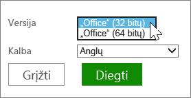 Pasirinkite 32 arba 64 bitų