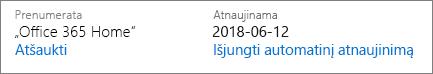 Prenumeratos automatinio atnaujinimo data.