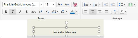 Poraštės formatavimo redagavimas