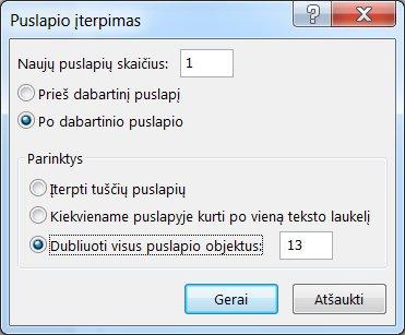 """Dialogo langas, skirtas """"Publisher"""" puslapiui įterpti"""
