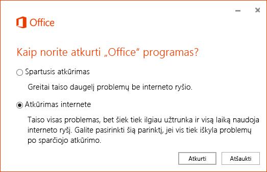 """""""Office"""" atkūrimo dialogo langas atkuriant """"OneDrive"""" verslui sinchronizavimo programą"""